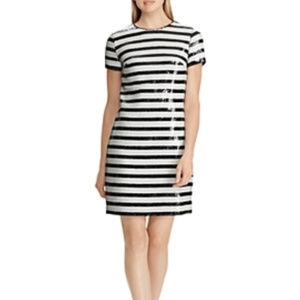 Ralph Lauren Sequin Dress Striped Black White $295